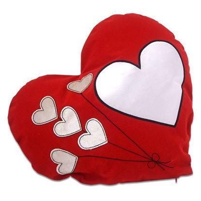 Picture of Kişiye Özel Baskılı Balon Desen Kırmızı Kalp Yastık