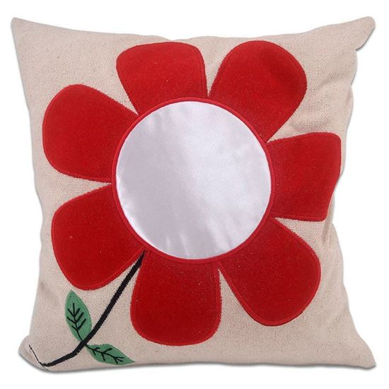 Picture of Kişiye Özel Baskılı Kırmızı Çiçek Desenli Yastık