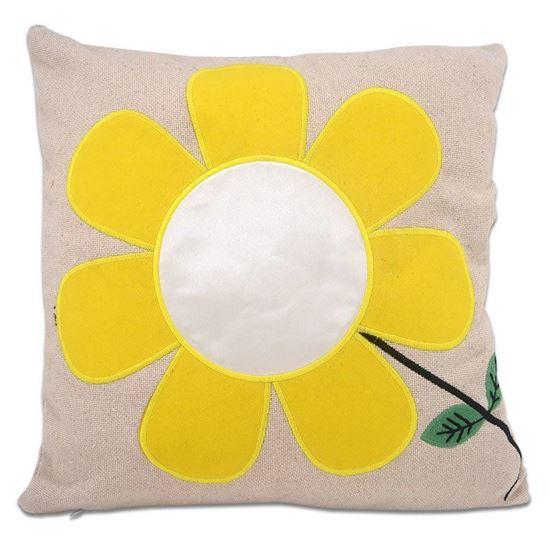 Picture of Kişiye Özel Baskılı Sarı Çiçek Desenli Yastık
